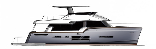 A Patrizio Facheris design of one of the new Hudson Bay motor yachts.
