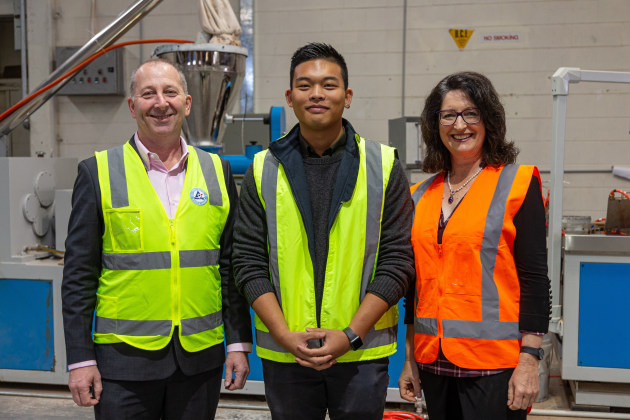 (from left) Andrew Pooch, Managing Director, Tetra Pak Oceania; Gavin Heng, Director, New Zealand Plastic Products; and Julie Evans, Key Account Director, Tetra Pak Oceania.