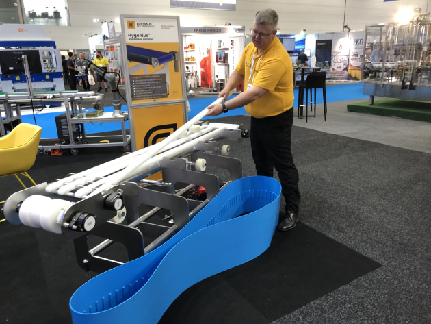 Peter Gustafson of Australis Engineering demonstrates Hygenius, a new hygienic conveyor that has been specially designed to be taken apart and put back together for cleaning in under two minutes.