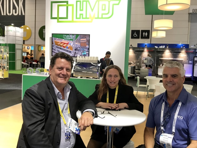 Mark Emmett, HMPS; Samantha Saunders, Integrated Packaging; and Geoff Burke, Linco.