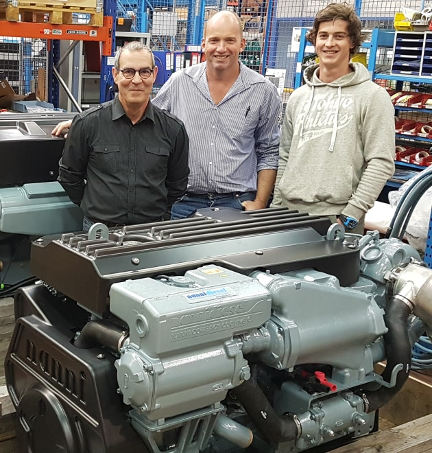 In the Nanni engine factory, La Teste France, during technical training (l-r) Philippe Janvier, Nanni Industries training and documentation manager, Steven Shale, Marine Diesel owner/manager, and Luke Burnett, Marine Diesel field service technician, with a Nanni N9.600 CR2 engine which will be on display at SCIBS.
