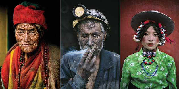 Left to right: Monk, Kham, Tibet, 1999; Coal Miner with Cigarette, Pol-e Khomri, Afghanistan, 2002; Young Woman at a Horse Festival, Tagong, Tibet, 1999 © Steve McCurry / Magnum Photos.