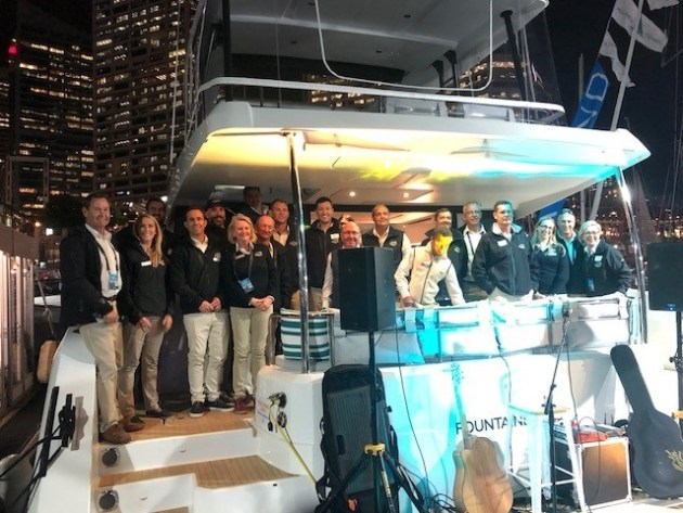 The team at Multihull Solutions celebrating 10 years and record sales at SIBS 2018.