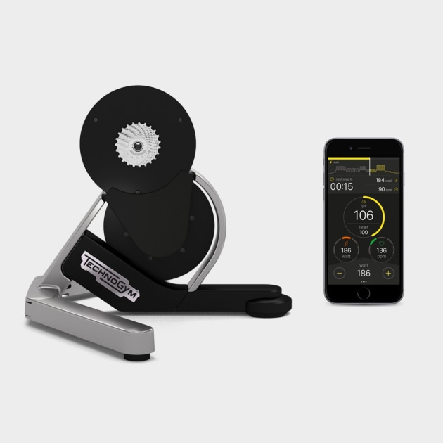 The futuristic TechnoGym MYCYCLING indoor trainer is here and now.