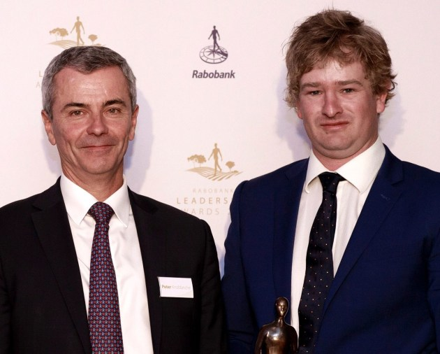 Rabobank Australia CEO Peter Knoblanche (left) with Nathan Free, when he was presented with the 2017 Rabobank Emerging Leader award.