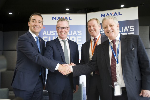 (Left to Right) Steven Marshall, Premier of South Australia, The Hon. Christopher Pyne MP, Minister for Defence Industries, Rob Hawketts, Vice President, Government Services Australia, KBR Australia and Brent Clark, Interim-CEO, Naval Group Australia. Credit: Naval Group