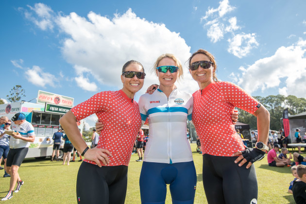 Alison McCormack (centre) has ridden two Noosa Classic events and plans to return for her third.