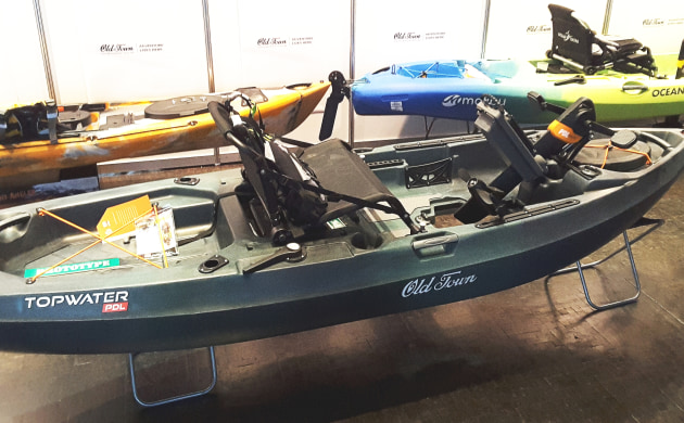 The Topwater PDL kayak from Old Town was air-freighted in for the trade show.