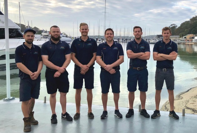 Daniel Scifleet (third from right) with his team at Onboartd Marine Services in Sydney.