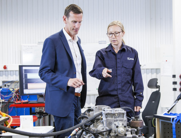 Volvo Penta's chief technology officer, Johan Inden, and system engineer, Karin Åkman, at the company's new development-and-test laboratory in Gothenburg.