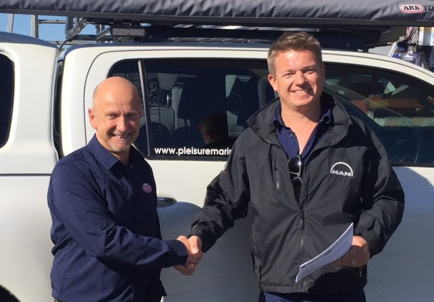Seakeeper in WA: Glenn Frettingham, Twin Disc Pacific, with Damon Johns, Pleisure Marine.