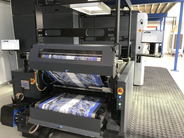 Pouch film being printed on HP Indigo 20000 digital press at Read Labels & Packaging.
