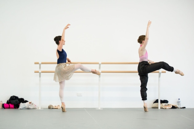 The Australian Ballet's Montana Rubin (left) and Alexandra Moore in class. Photo; Kate Longley.