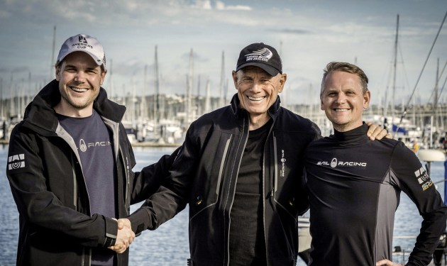Joakim Berne, Sail Racing CEO (left) with Grant Dalton, Emirates Team New Zealand CEO and Henrik Vikestam, head of design and production at Sail Racing.