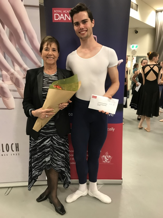 Samuel Winkler (winner of the Project B Male Vocational Dancer Award and the Martin Rubinstein Award) and adjudicator Audrey Nicholls OAM FRAD.