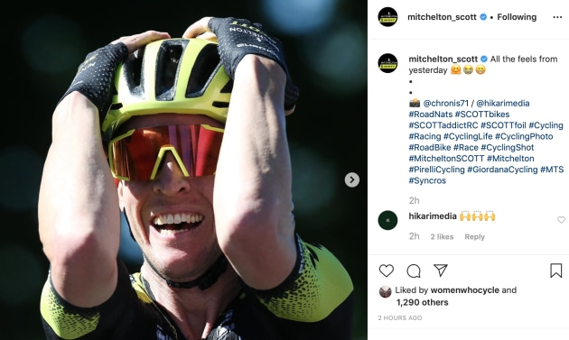 Cam Meyer celebrates after winning the 2020 National Jersey. Image: Mitchelton-Scott Instagram.