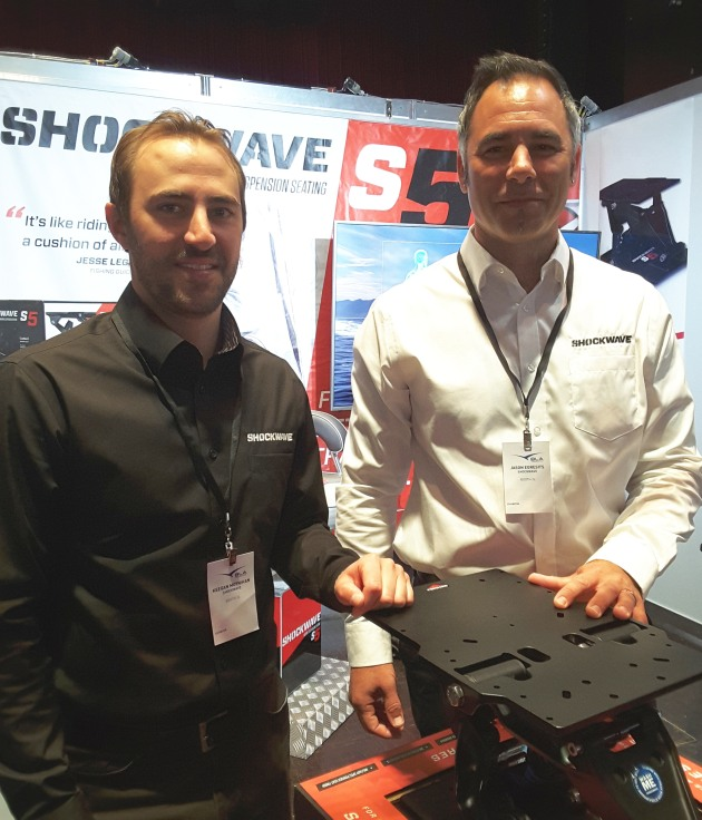 Keegan Moynihan and Jason Egresits from Canadian manufacturer Shockwave were at the show to introduce the S5 seat suspension unit.