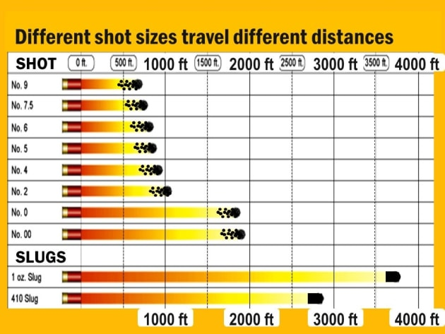 Shot sizes relative ranges