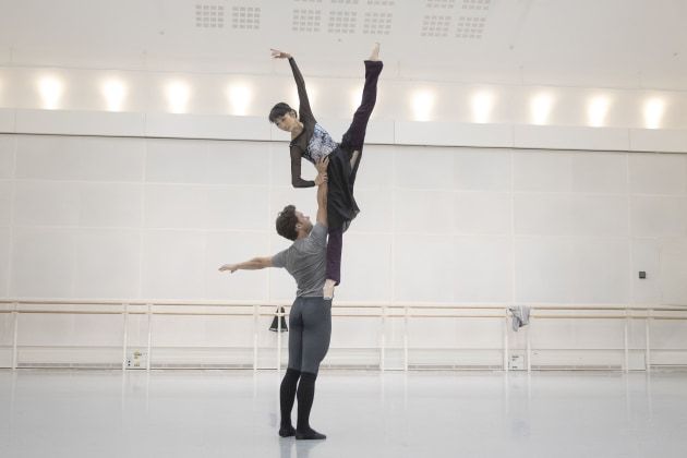 Campbell with Royal Ballet principal Akane Takada rehearsing Don Quixote. Photo: Andrej Uspenski.