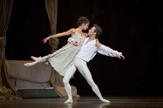 Performing Des Grieux with Francesca Hayward as Manon. Photo: Alice Pennefather.