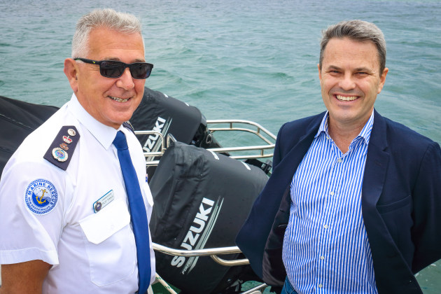 Marine Rescue NSW commissioner Stacey Tannos (left) and Suzuki Marine CEO John Haines (right) at MRNSW State Headquarters at Hungry Point, Cronulla, NSW, announcing the four-year partnership extension between the two organisations. (Photo: Marine Rescue NSW)