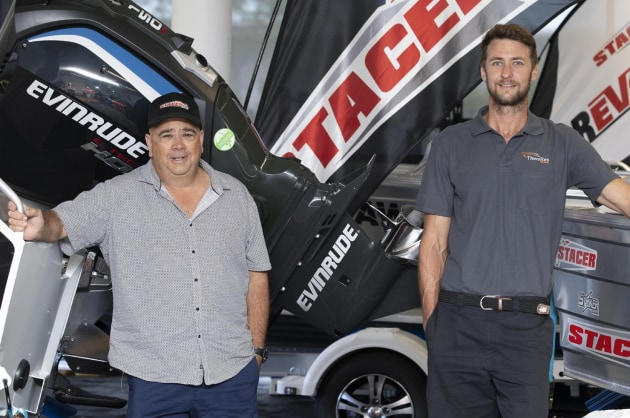 Mitch Young, boat salesperson (left), and Ben Thwaites, dealer principal at Thwaites Marine.