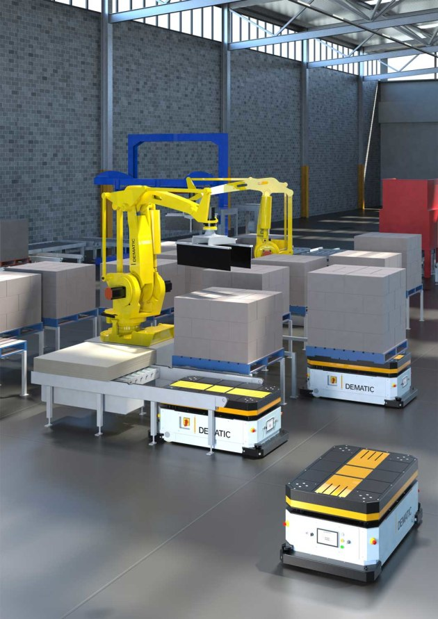 The TT Series AGVs can connect directly with automatic palletisers and robot cells in the warehouse.