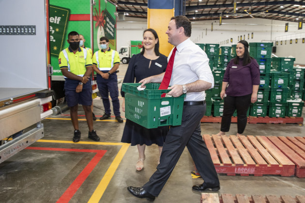 New South Wales Minister for Western Sydney, Stuart Ayres with Woolworths Director eCom B2C, Annette Karontoni at Woolworths new online Customer Fulfilment Centre in Lidcombe (NSW)
