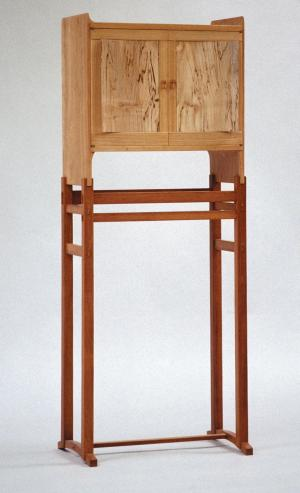Cabinet on stand in European cherry, spalted chestnut and kwila, 1995.