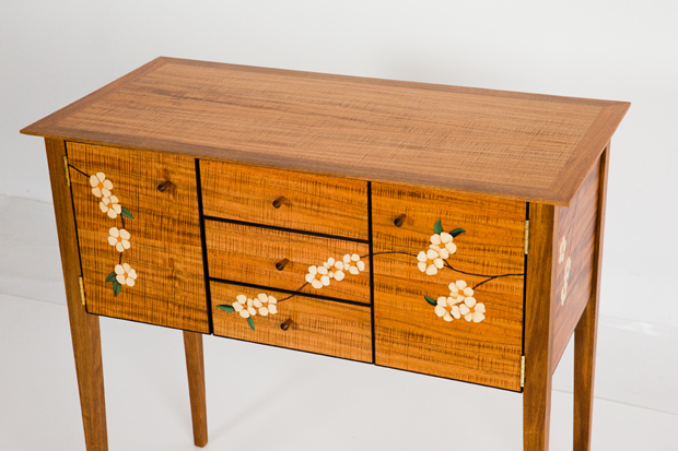 Cabinet with marquetry detailing by Peter Young