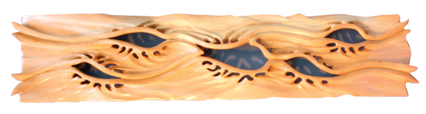 Erosion Wallpiece in Huon pine by Neil Scobie, 700 x 150mm wide.