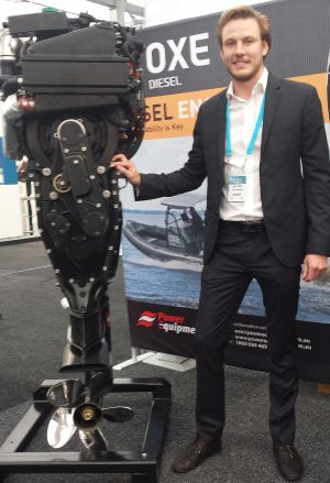 Luke Foster of Power Equipment with the Oxe diesel outboard at Pacific15 in Sydney.