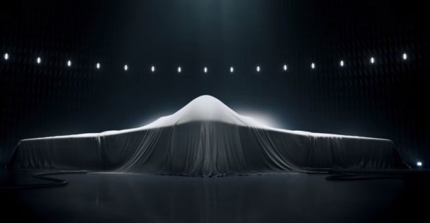 A screenshot from a Northrop Grumman commercial. The project is highly classified and no images of the design have been released. Credit: Northrop Grumman