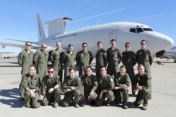 Royal Australian Air Force No 2 Squadron personnel stand in front of the No 2 Squadron A30 E-7A Wedgetail on the Nellis Air Force Base flightline. Credit: Defence