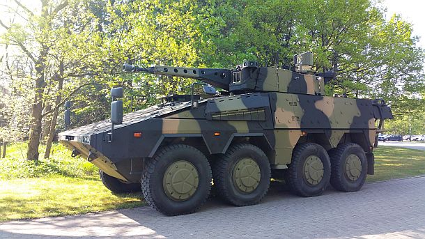 A Boxer CRV in AUSCAM livery at Rheinmetall Defence's proving ground in Unterlüss in Germany. Credit: Rheinmetall Defence
