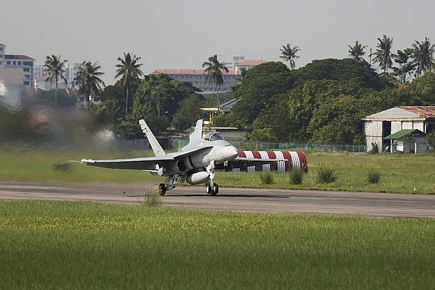 A Royal Australian Air Force F/A-18 Hornet, from No.77 Squadron, takes off at Royal Malaysian Air Force Base Butterworth in the lead up to Exercise Bersama Lima 16. Credit: Defence