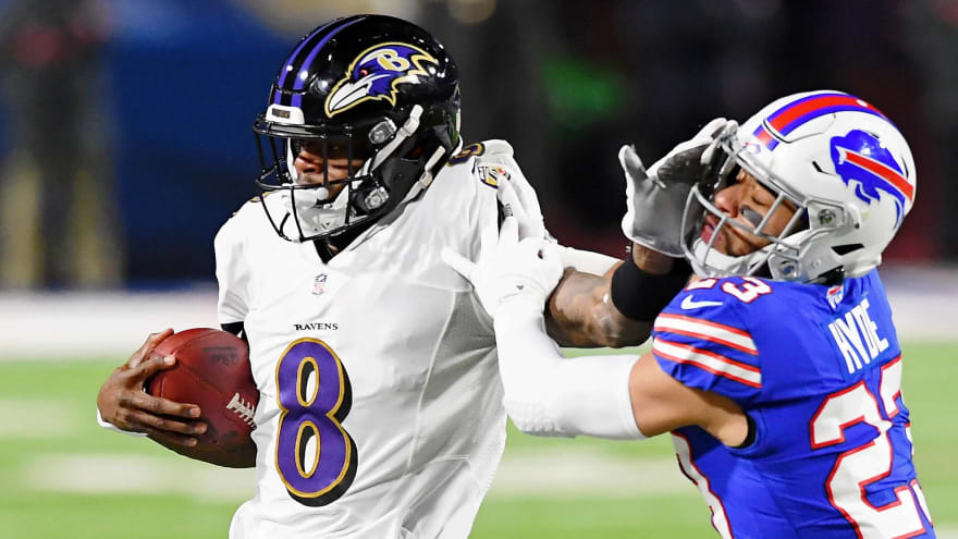 Lamar Jackson in concussion protocol after hit in end zone
