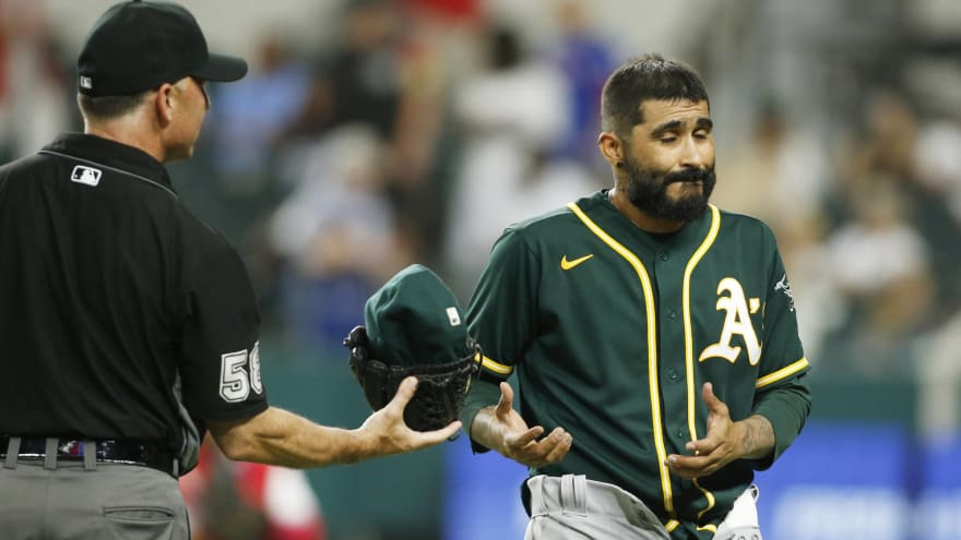 A's reliever Sergio Romo drops pants during substance check