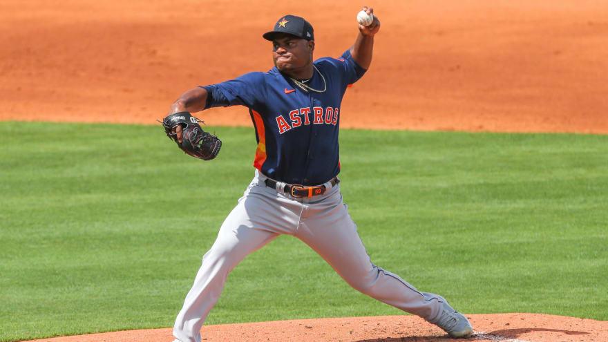 Astros' Framber Valdez breaks finger on pitching hand