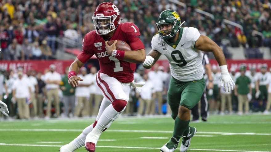 Watch: Oklahoma's Jalen Hurts hit from behind, Baylor recovers crazy fumble