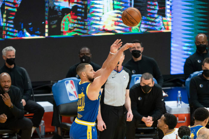 Steph Curry made 96 three-pointers during April