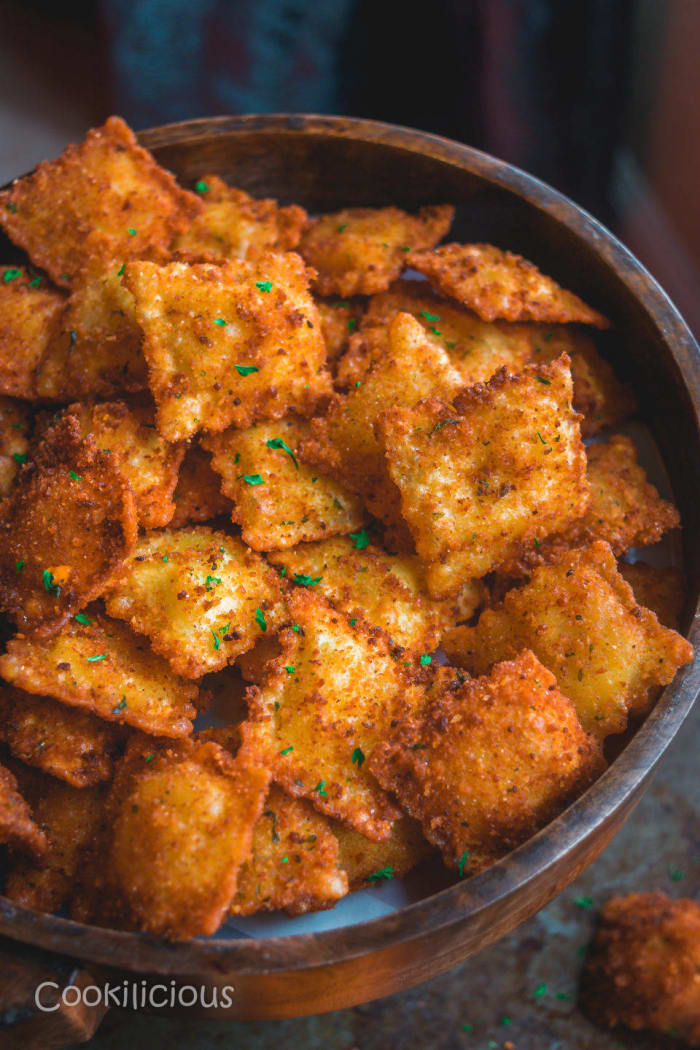 Fried vegan ravioli
