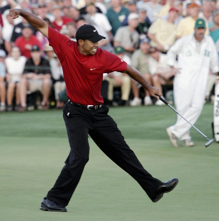 2005: Woods celebrates after winning the playoff
