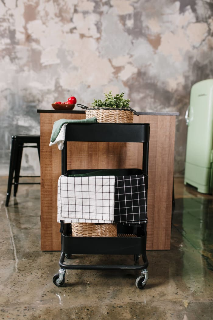 Use a kitchen cart to keep frequently used ingredients on hand — and score more counter space
