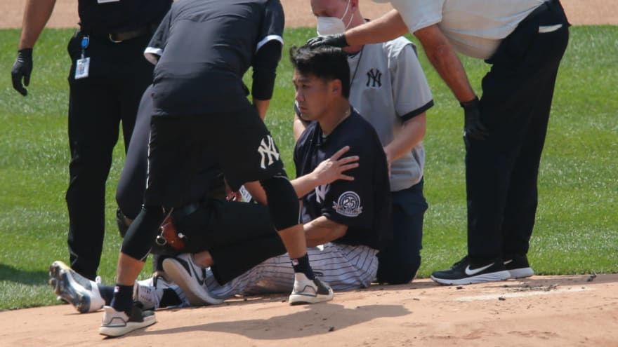 Masahiro Tanaka alert and responsive after being hit in head by line drive