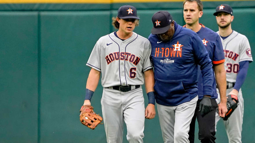 Astros CF Jake Meyers leaves Game 4 due to apparent arm injury