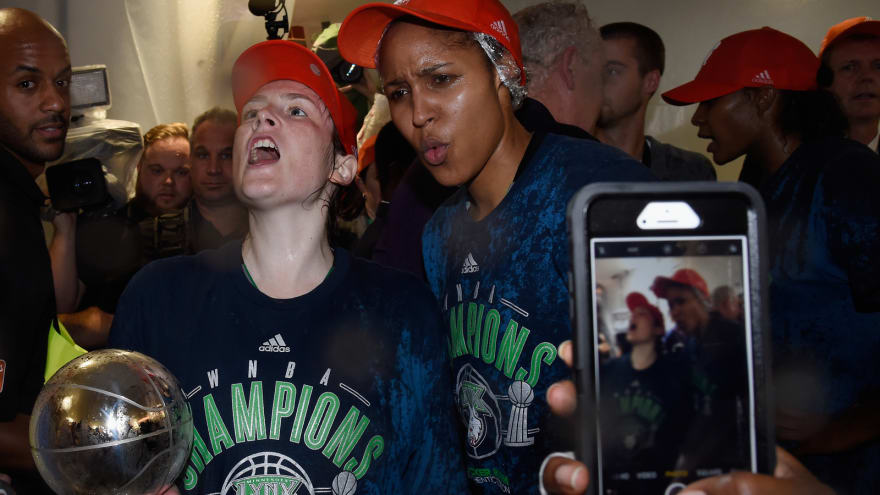 WATCH: Lynx players pop champagne after WNBA Finals win