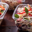 Rice noodles with cabbage, carrot, capsicum, thai basil & almond dressing (DF)