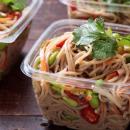 Soba noodles with edamame beans, radish, mushrooms & soy dressing (DF)