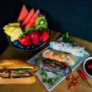 Banh mi, rice paper rolls & fruit platter